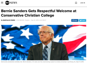 Bernie Sanders Gets Respectful Welcome at Conservative Christian College